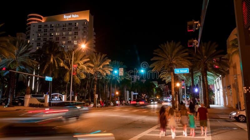 Południe Wyrzucać na brzeg przy nocą w Miami Floryda usa zdjęcie stock