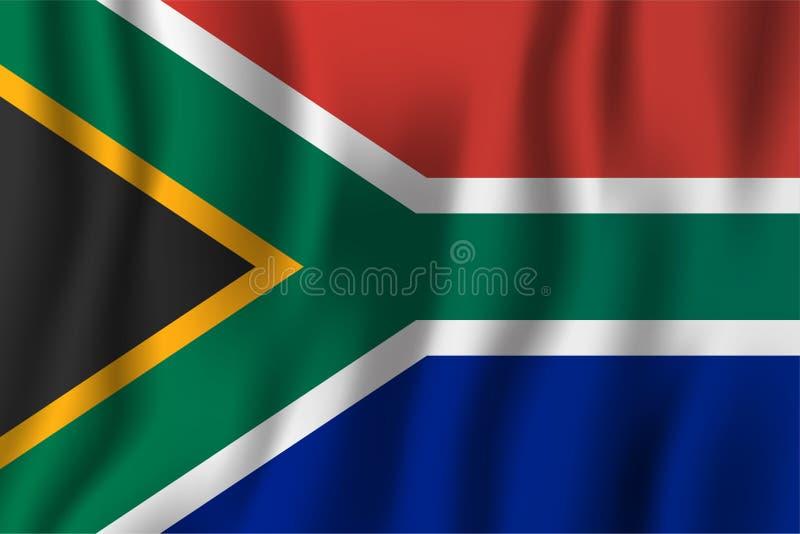 Południowa Afryka falowania flaga wektoru realistyczna ilustracja Krajowy kraju tła symbol tła dzień grunge niezależność retro ilustracja wektor
