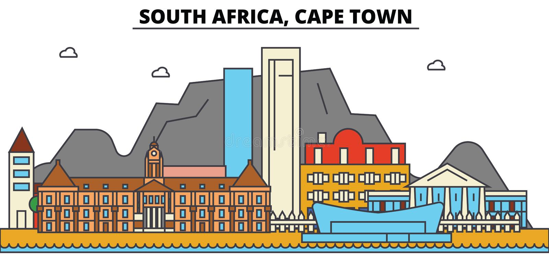 Południowa Afryka, Kapsztad Miasto linii horyzontu architektura royalty ilustracja