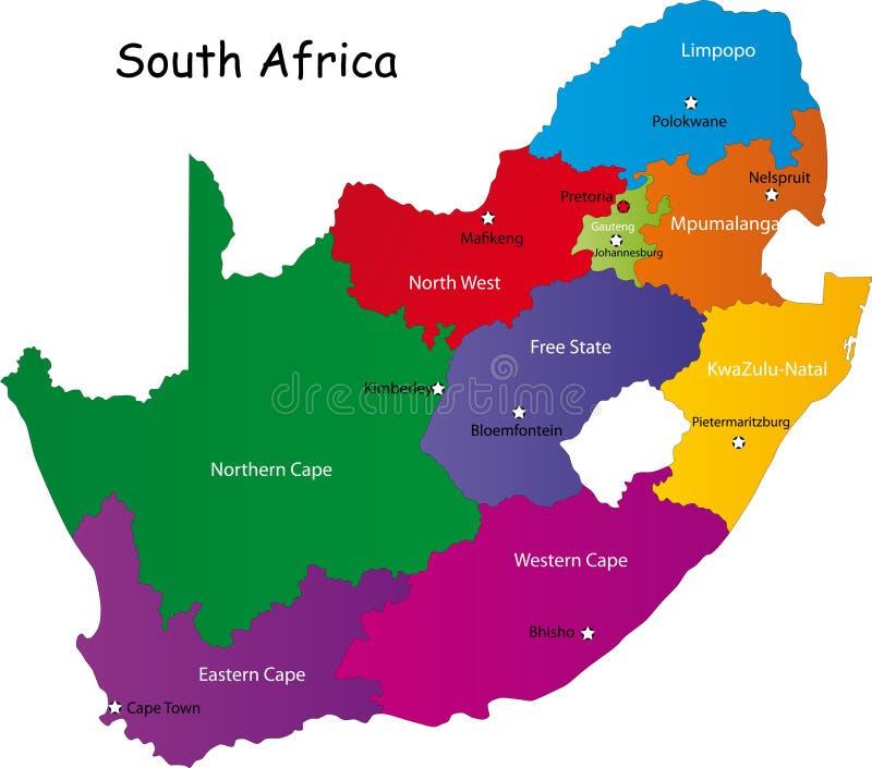 Południowa Afryka mapa ilustracja wektor
