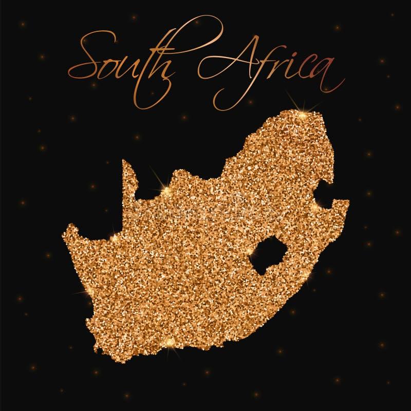 Południowa Afryka mapa wypełniająca z złotą błyskotliwością ilustracja wektor