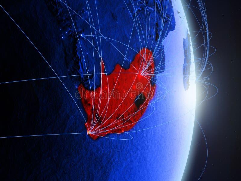 Południowa Afryka na błękitnej błękitnej cyfrowej ziemi obrazy royalty free