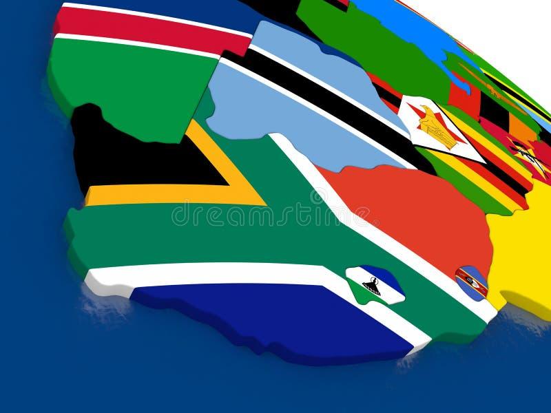 Południowa Afryka na 3D mapie z flaga royalty ilustracja