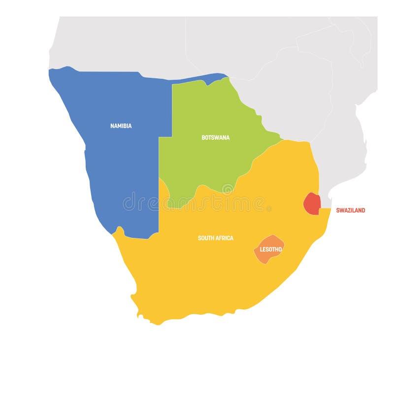 Południowa Afryka region Kolorowa mapa kraje w afryce poludniowej również zwrócić corel ilustracji wektora ilustracja wektor