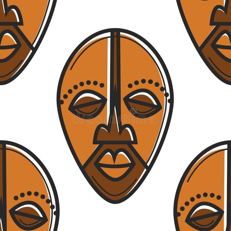 Południowa Afryka totemu maski bezszwowy deseniowy Afrykański symbol ilustracji
