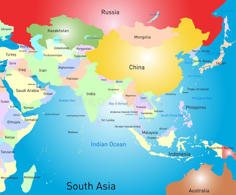 Południowa Asia mapa ilustracja wektor