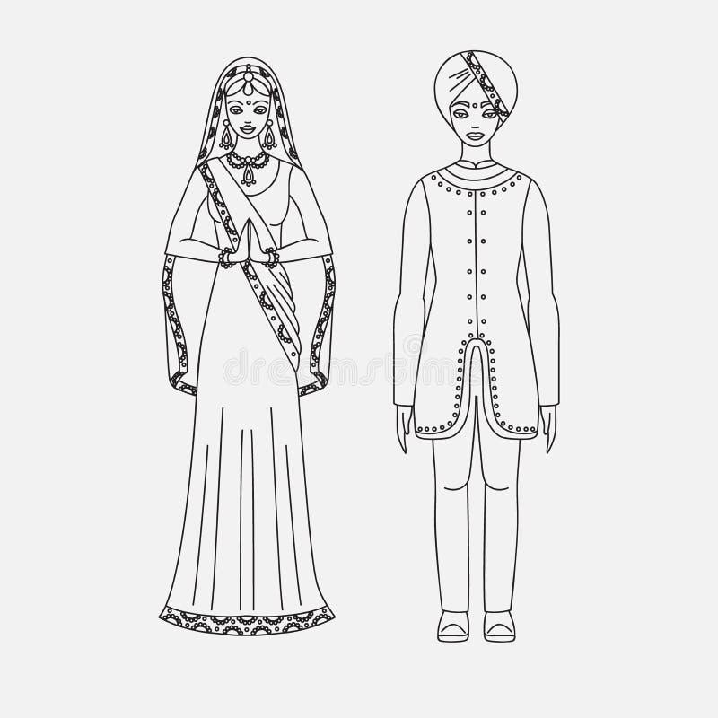 Południowa Azja mężczyzna i, hinduism kostium, sari na białym tle royalty ilustracja