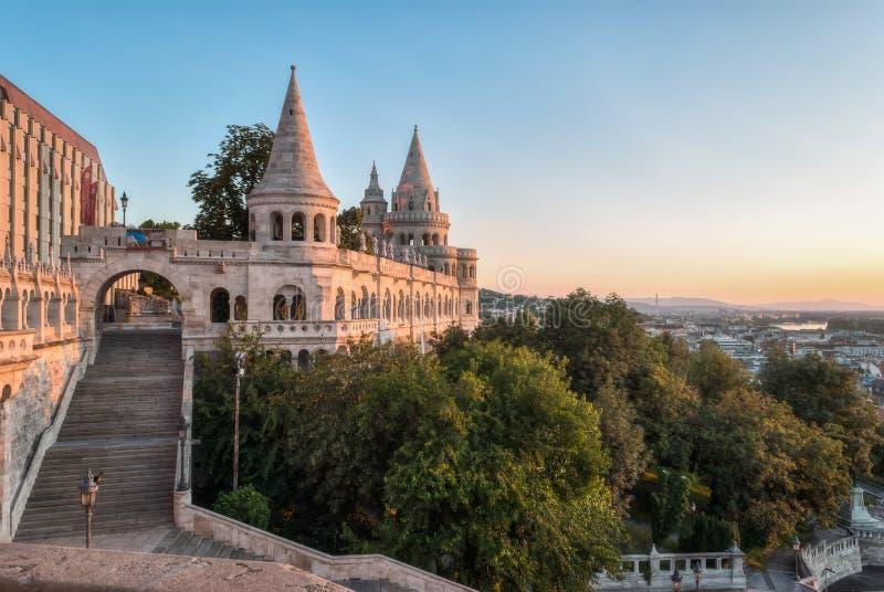 Południowa brama rybaka ` s bastion w Budapest fotografia royalty free