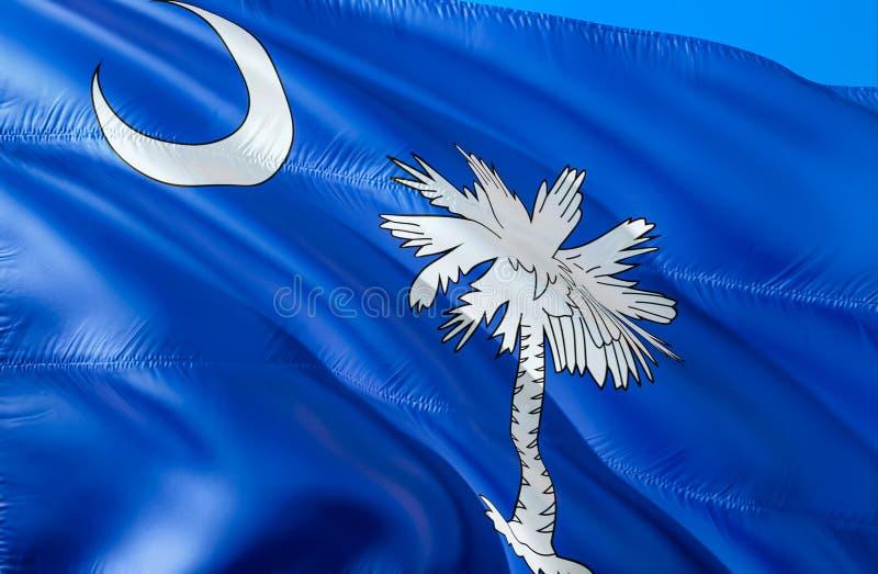 Południowa Karolina flaga 3D falowania usa stanu flagi projekt Obywatel USA symbol Południowa Karolina stan, 3D rendering obywate zdjęcia royalty free