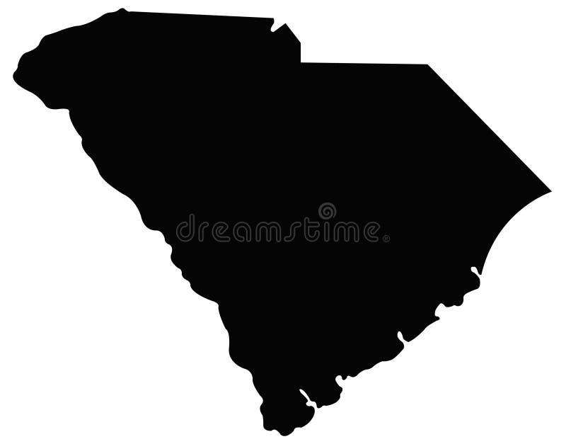 Południowa Karolina mapa - stan w Stany Zjednoczone Ameryka ilustracja wektor