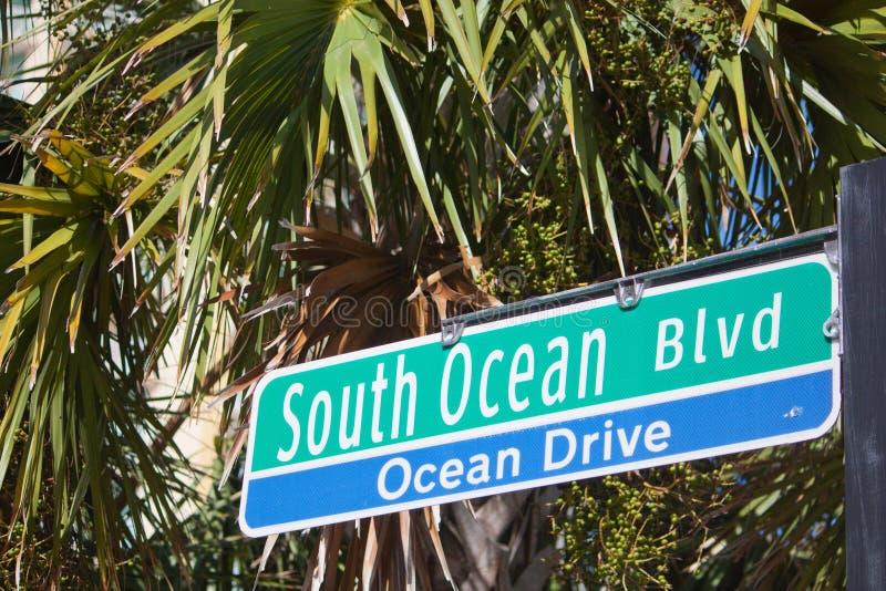 Południowa oceanu bulwaru znaka mirtu plaża zdjęcia royalty free