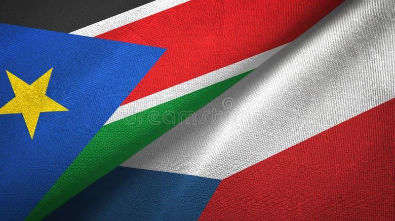 Południowe Sudan i republika czech dwa flagi tekstylny płótno, tkaniny tekstura zdjęcie stock