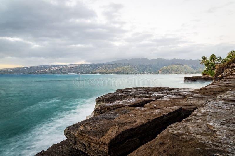 Południowego brzeg Hawaje Długi ujawnienie przy półmrokiem zdjęcie stock