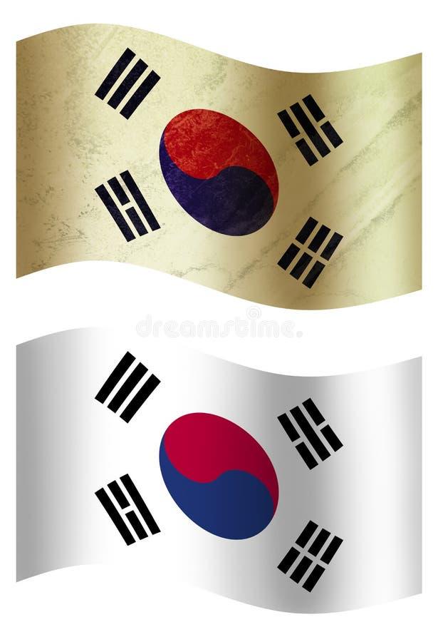 Południowego Korea 3D kraju flaga, dwa stylesSwitzerlandSpain ilustracji