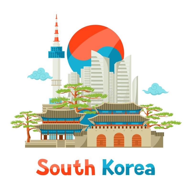 Południowego Korea dziejowy i nowożytny architektury tła projekt ilustracja wektor
