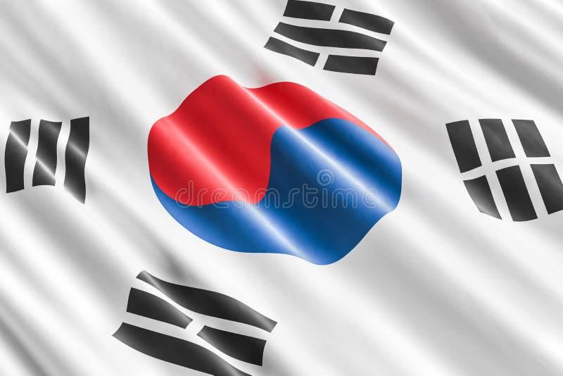 Południowego Korea flaga tło, 3D ilustracja wektor