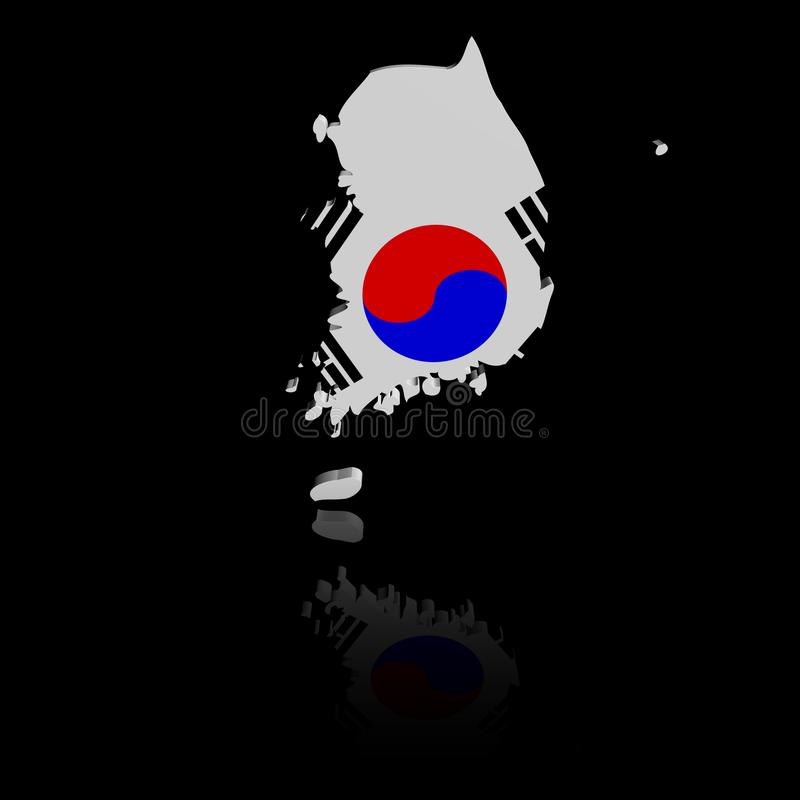 Południowego Korea mapy flaga z odbicie ilustracją ilustracja wektor