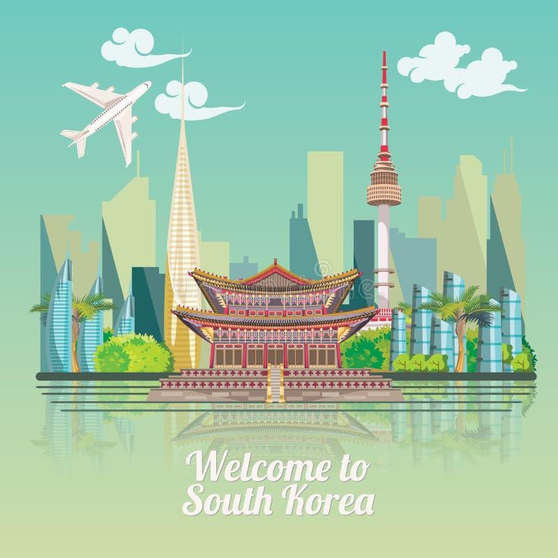 Południowego Korea podróży plakat z koreańskim miastem Korea podróży sztandar z koreańskimi przedmiotami royalty ilustracja