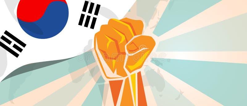 Południowego Korea protesta i walki niezależności walki bunt pokazuje symboliczną siłę z ręki pięści ilustracją i ilustracji