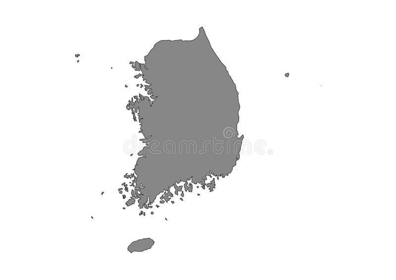 Południowego Korea stanu mapy wektoru sylwetka ilustracja wektor