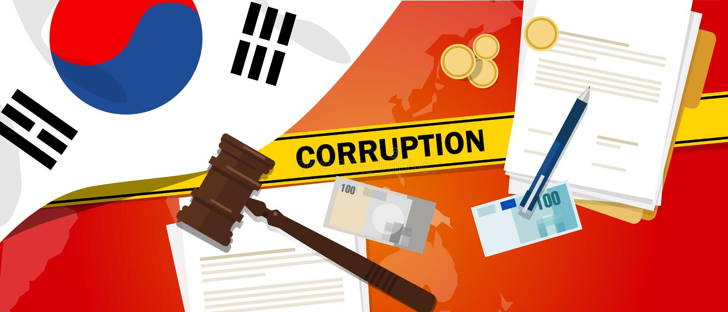 Południowego Korea walk korupci pieniądze łapówkarstwa pieniężnego prawa kontrakta milicyjna linia dla skrzynka skandalu urzędnik royalty ilustracja
