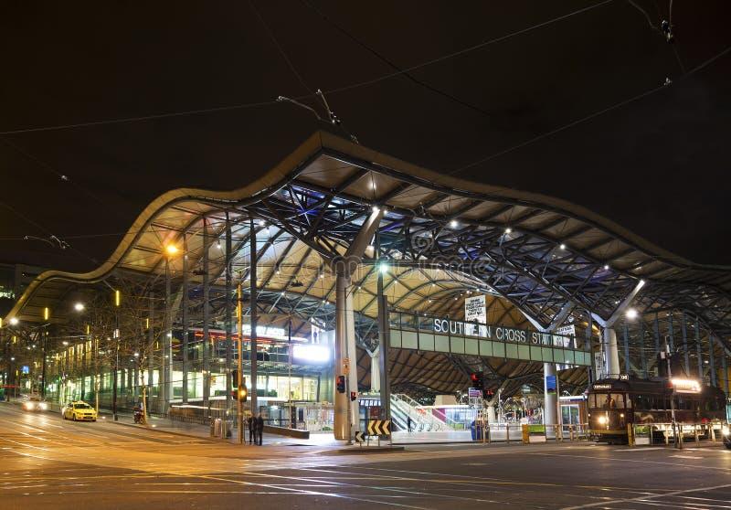 Południowego krzyża sztachetowa stacja w Melbourne Australia obraz stock