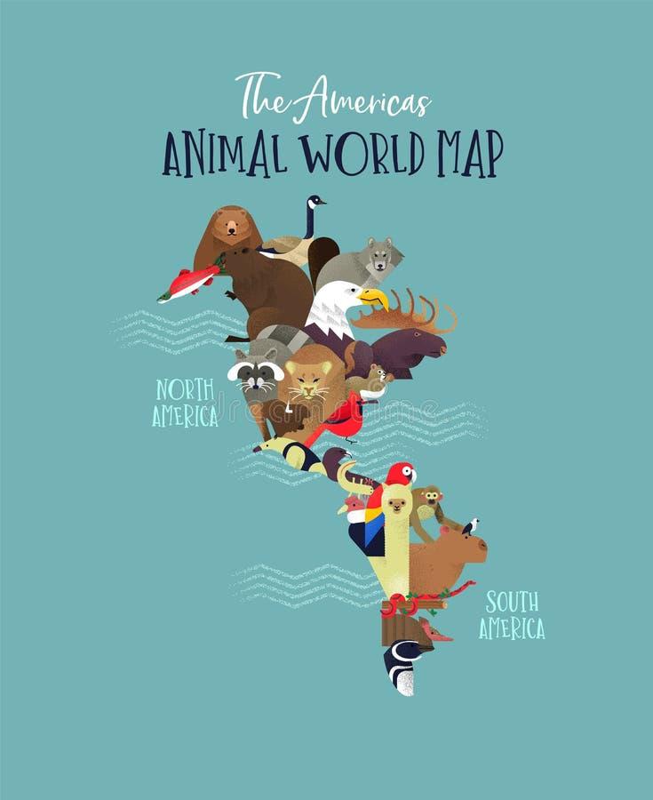 Południowego Północna Ameryka kontynentu mapy zwierzęcy pojęcie ilustracji