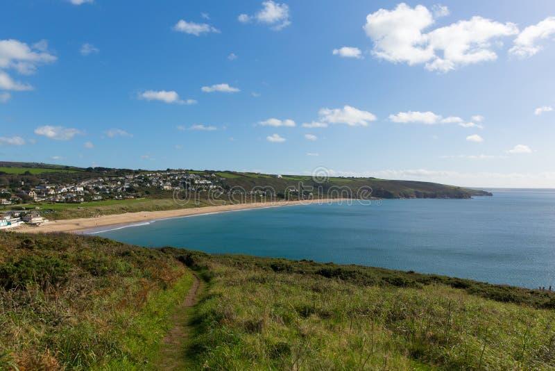 Południowi zachodnie wybrzeże ścieżki Praa piaski Cornwall Anglia UK obrazy royalty free
