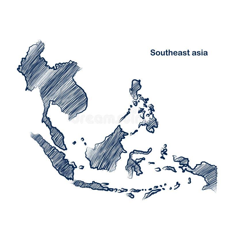 Południowo-wschodni Asia mapa ilustracja wektor