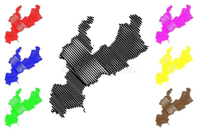 Południowy Hamgyong Gubernialny Demokratyczny Zaludnia republiki Korea, DPRK, DPR Korea, prowincje korei północnej mapy wektoru i ilustracja wektor