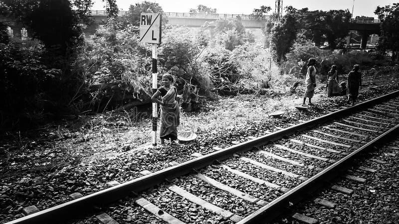Południowy indyjski kolejowy kobieta pracownik obrazy royalty free