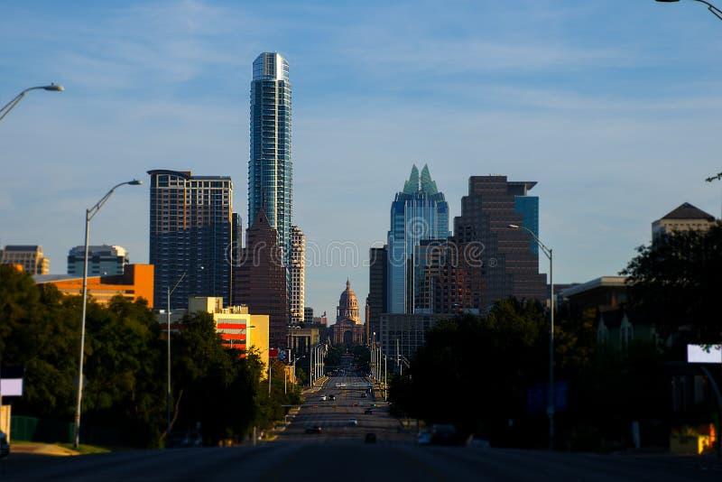 Południowy Kongresowy alei Austin Teksas stanu Capitol widok zdjęcia stock