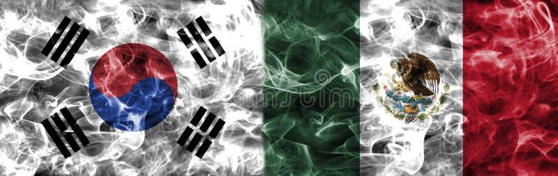 Południowy Korea vs Meksyk dymu flaga, grupowy F, futbolowy puchar świata 20 ilustracja wektor