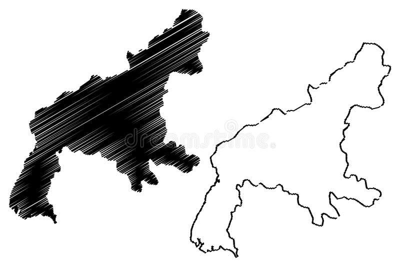 Południowy Pyongan Gubernialny Demokratyczny Zaludnia republiki Korea, DPRK, DPR Korea, prowincje korei północnej mapy wektorowa  ilustracja wektor