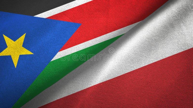 Południowy Sudan i Polska dwa flagi tekstylny płótno, tkaniny tekstura zdjęcia royalty free