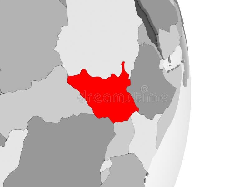 Południowy Sudan na popielatej politycznej kuli ziemskiej ilustracji