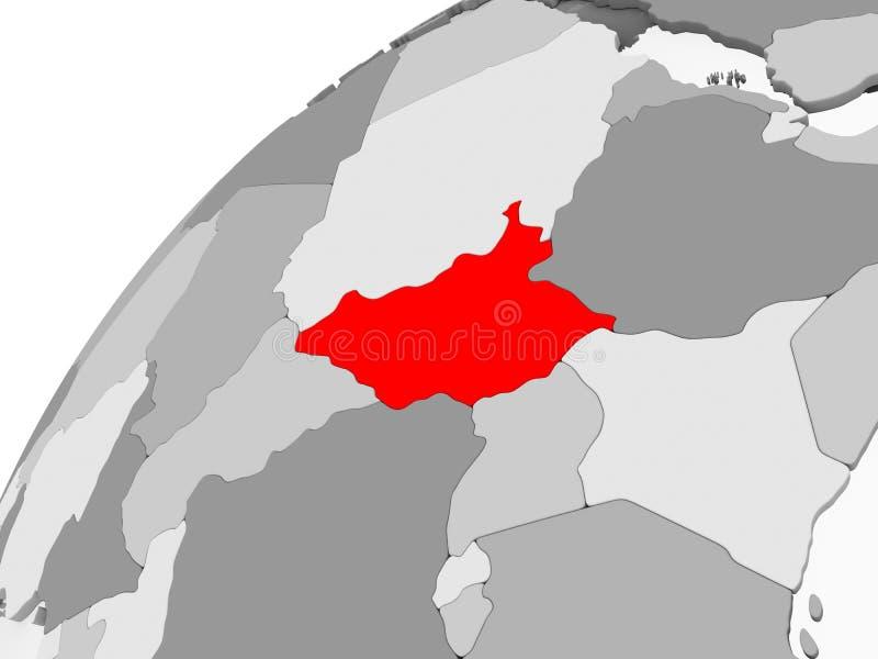 Południowy Sudan na popielatej politycznej kuli ziemskiej royalty ilustracja