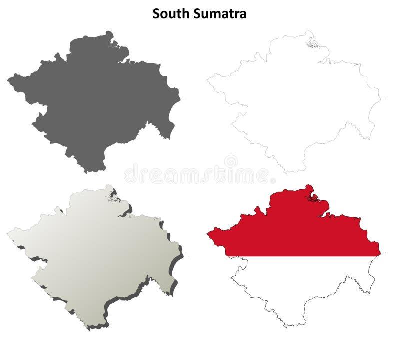 Południowy Sumatra konturu mapy pusty set ilustracji
