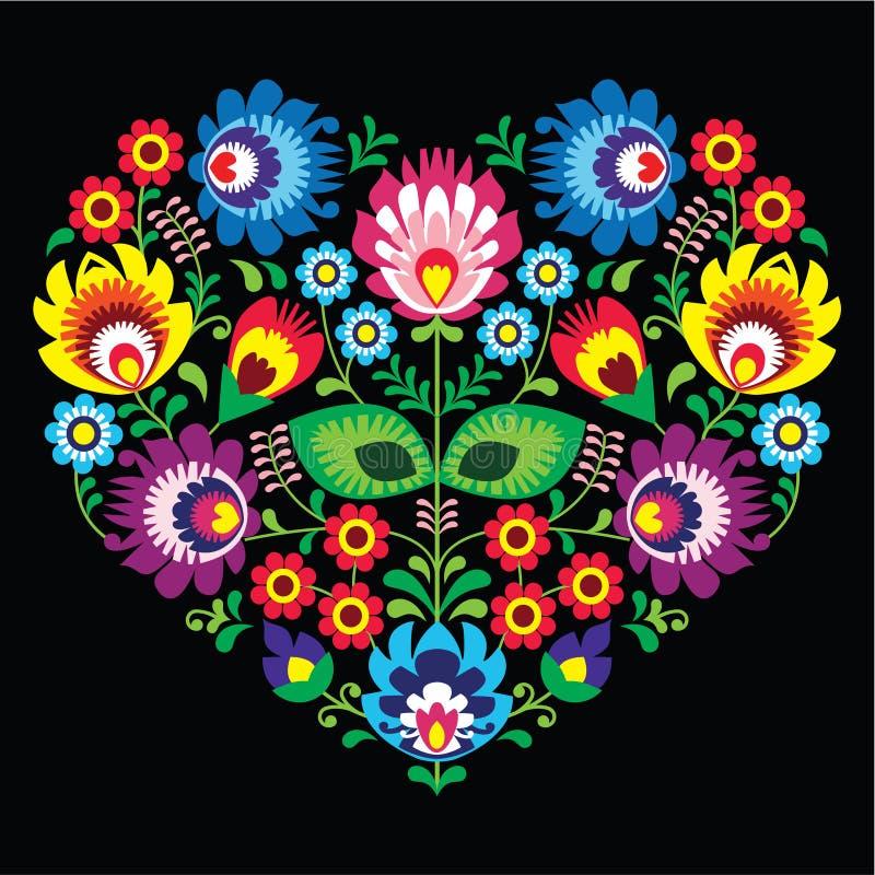Połysk, Slawistyczny ludowej sztuki sztuki serce z kwiatami na czerni - wzory lowickie, wycinanka royalty ilustracja