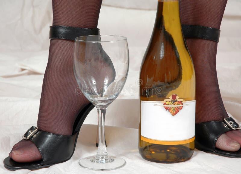 pończoch pięt sexy wino zdjęcie stock