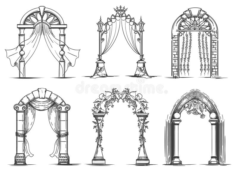 Poślubiać łuku nakreślenia set ilustracja wektor