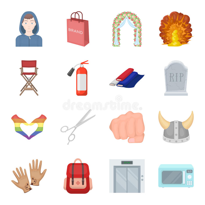 Poślubiać, atelier, zakupy i inna sieci ikona w kreskówce, projektujemy Wyposażenie, usługa, hotelowe ikony w ustalonej kolekci royalty ilustracja