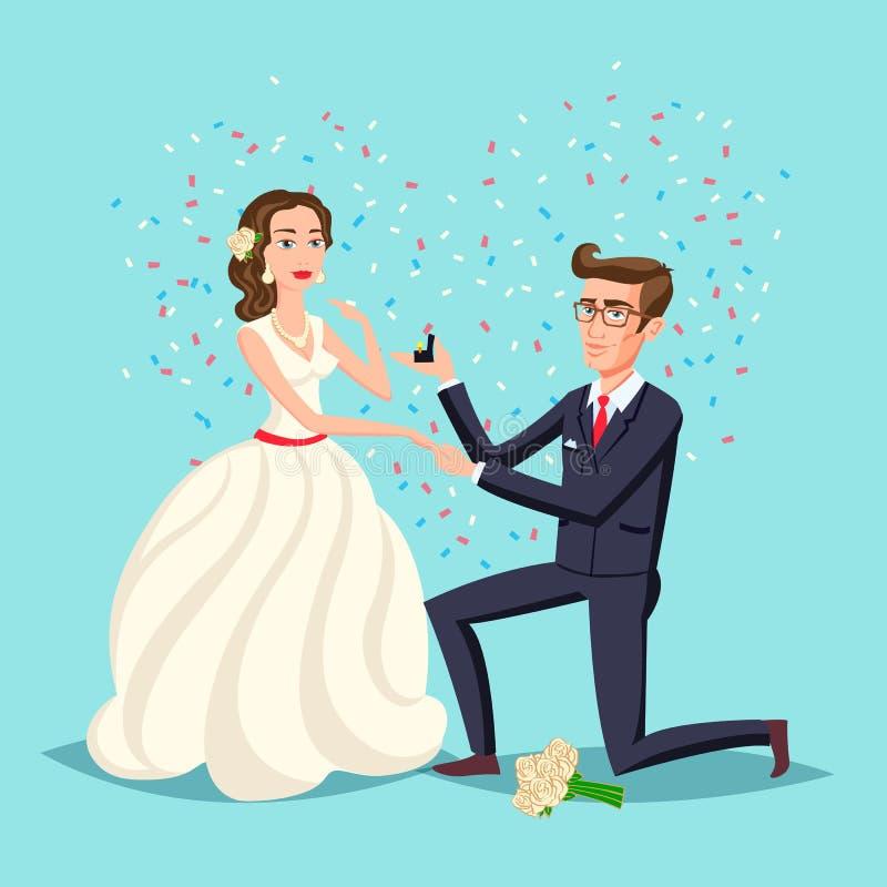 Poślubiać i małżeństwa pary projekt Propozyci małżeństwo, wektorowy ilustracyjny płaski projekt Mężczyzna trzyma w ręce otwartego ilustracja wektor