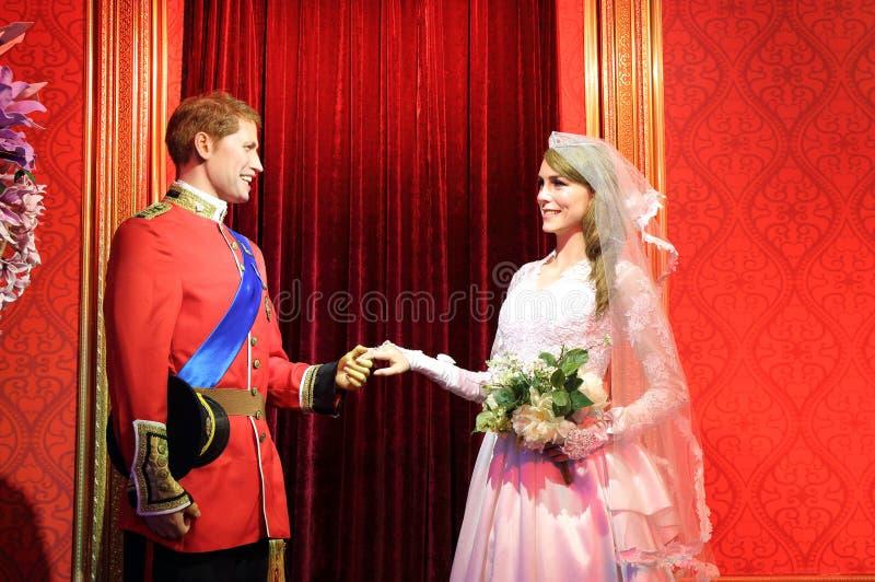 Poślubiać książe William Middleton i Catherine, wosk statua, wosk postać, figura woskowa zdjęcia royalty free