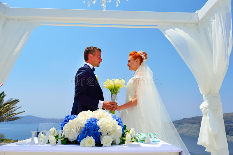 Poślubiać na Santorini obraz stock