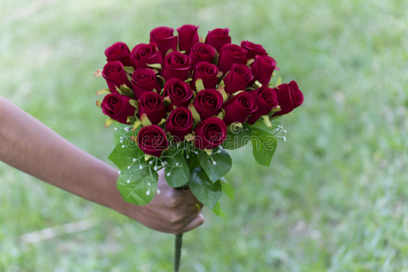Poślubiać nasyca czerwieni róży obrazy stock
