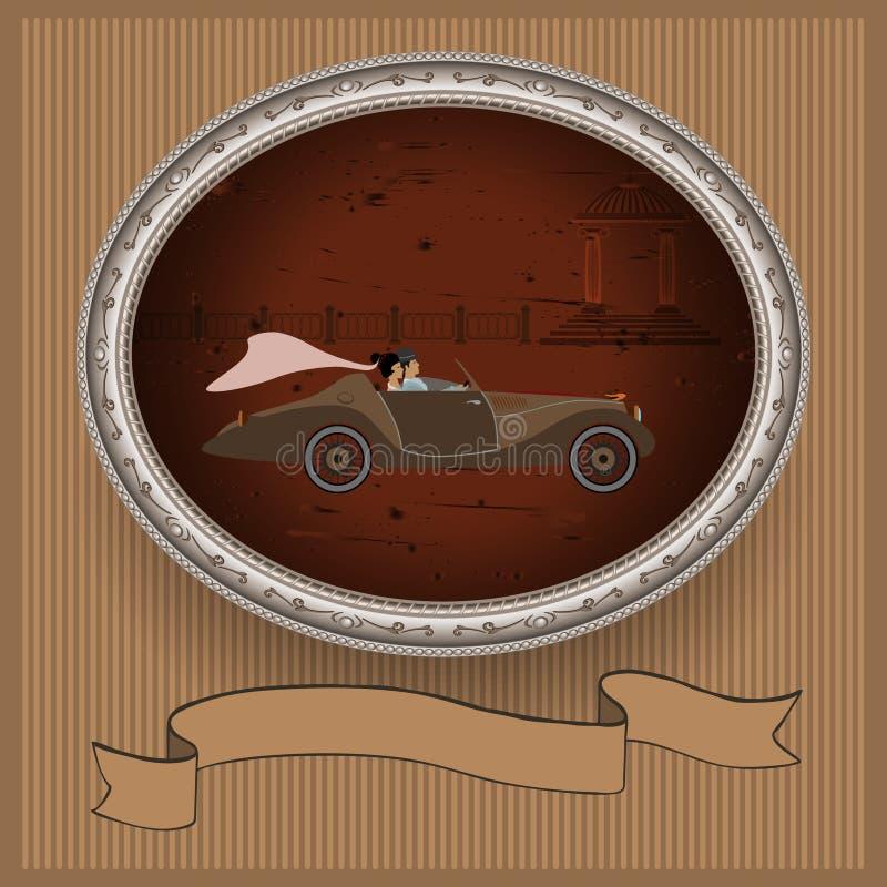 Poślubiać w luksusowym samochodzie ilustracja wektor