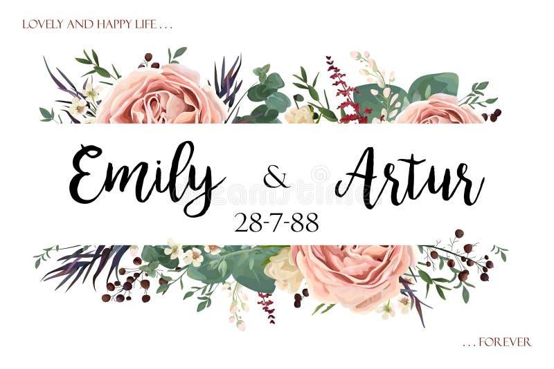 Poślubiać zaprasza zaproszenia save daktylowej karty kwiecista akwarela s ilustracja wektor