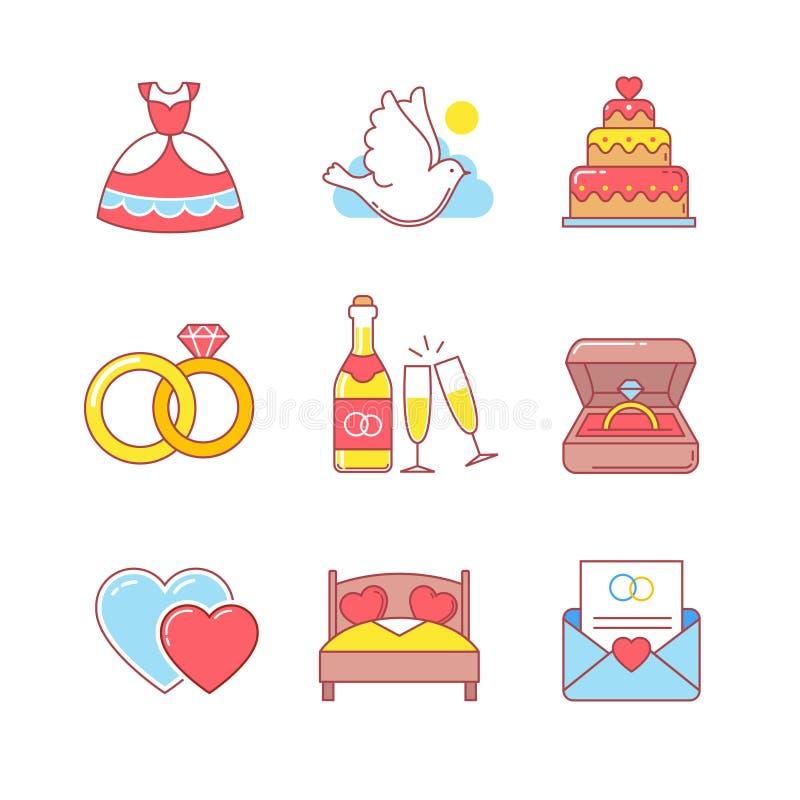 Poślubiający i małżeństwo cienkie kreskowe ikony ustawiać ilustracji