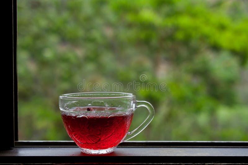 Poślubnik herbata na drewnianym windowsill przeciw zielonemu tłu obrazy stock
